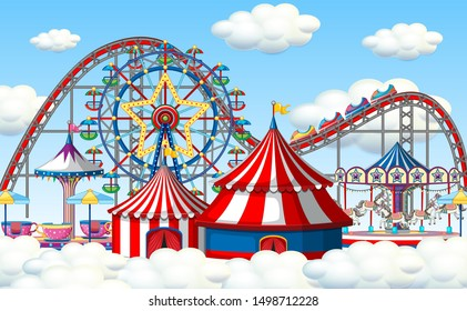 An outdoor funfair scene in clouds illustration