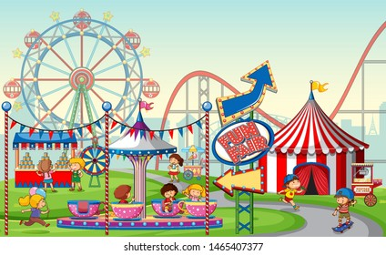 An outdoor funfair scene with kids illustration