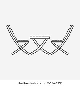 Outdoor furniture illustration in linear style. Chairs and table line style icon.