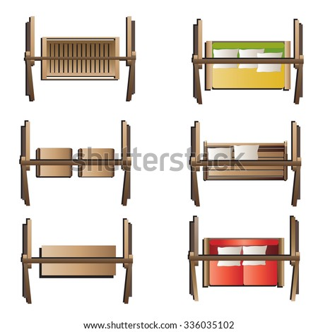 Outdoor Furniture Swing Set Top View Stock Vector Royalty Free