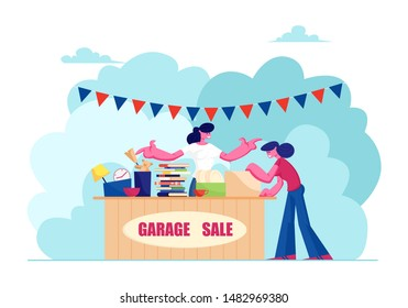 Outdoor Garage Sale with Housewares, Clothing, Books and Toys. Woman Offer Junk Goods, Odd Rummage Objects and Different Old Things for People to Buy. Weekend Fair Cartoon Flat Vector Illustration