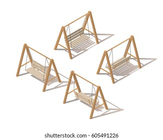 Outdoor garden wooden hanging on frame porch swing bench furniture with ropes isolated on white background. Isometric vector illustration. Isometric swing