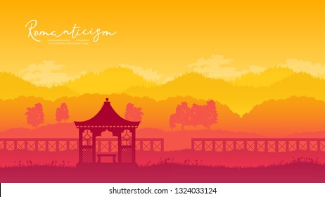 Outdoor gazebo in nature landscape vector brochure card. Romantic place on sunrise template land page wallapapers design . lifestyle invitation concept. Layout modern design