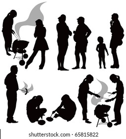 Outdoor grill. Black people silhouettes having picnic isolated on white background. Gray smoke.
