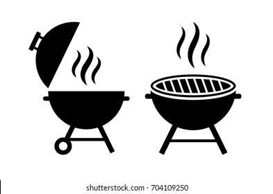 Outdoor grill vector icon illustration isolated on white background
