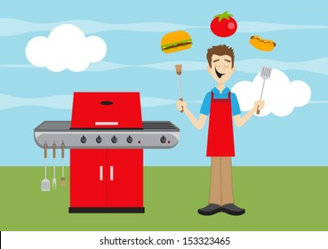 Outdoor Grilling Dad with Barbecue, Cheeseburger, Hot Dog, Tomato, and Spatula