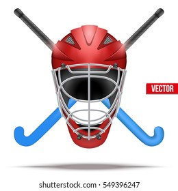 Outdoor hockey field symbol with helmet and sticks. Hockey on grass. Illustration isolated on white background.