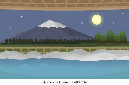 outdoor japanese hot spring onsen at night with Fuji mountain background vector