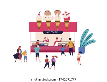 Outdoor kiosk with ice cream vector flat illustration. Happy man, woman, children and parent walking near stall with delicious dessert isolated on white. Female and male vendor working candy booth