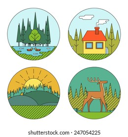 Outdoor Life Symbol Lake Forest House Deer Duck Line Icons Nature Landscapes Logo Isolated Flat Design Vector Illustration
