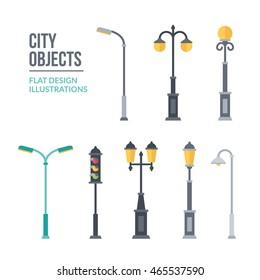Outdoor lights illustration. Set of elements for landscape construction. Trendy flat design. Eps10 vector.