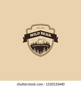 Outdoor logo of bear vector design. Animal emblem logo vector