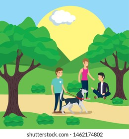 outdoor man with dog and couple sitting in grass activity vector illustration