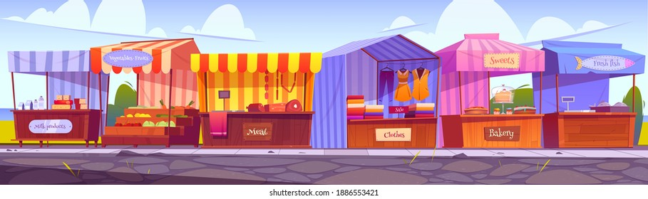 Outdoor market stalls, fair booths, wooden kiosks with striped awning, clothes and food products. Wood vendor counters with sunshade for street trading, city retail places, cartoon vector illustration