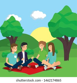 outdoor men and women sitting in blanket park activity vector illustration