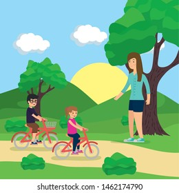 outdoor mom with kids riding bike in the park activity vector illustration