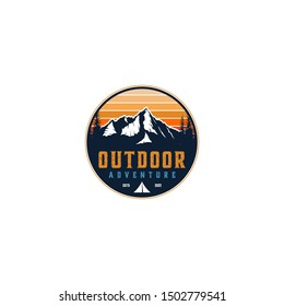 Outdoor mountain nature logo - adventure wildlife pine tree forest design