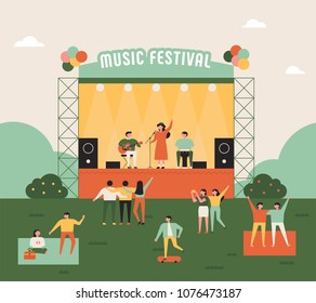 outdoor music festival concept poster. vector illustration flat design