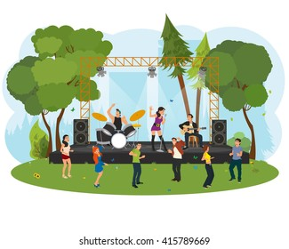 outdoor music festival. People dancing in the city park at the concert. vector