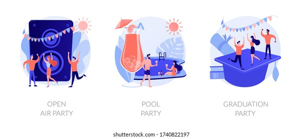 Outdoor music festival, tropical summer recreation, school graduation celebration icons set. Open air party, pool party, prom party metaphors. Vector isolated concept metaphor illustrations