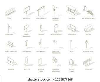 Outdoor out-of-home advertising media icons set. Isometric contour line one color.