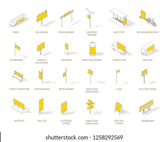 Outdoor out-of-home advertising media icons set. Isometric contour line and yellow color.