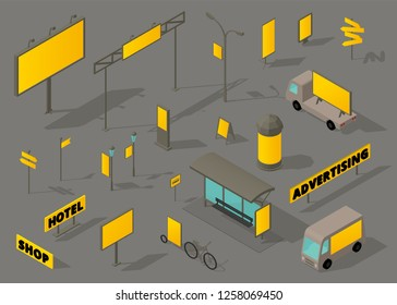 Outdoor out-of-home advertising media Isometric set. OOH formats.