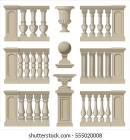 Outdoor and park elements balustrade , decorative vase ,set of landscape elements,vector drawing