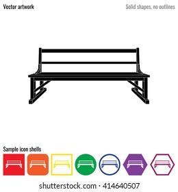 Outdoor park wooden bench vector icon glyph