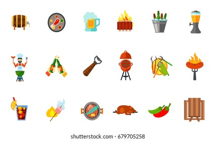 Outdoor party icon set