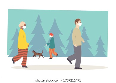 Outdoor people wearing white medical masks. Males and females walking in park, female dog walker. During coronavirus COVID-19 pandemic. EPS 10.