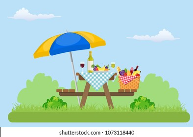 Outdoor picnic in park Table covered with tartan cloth and umbrella. Picnic basket filled with food on the chair. Vector illustration in flat style