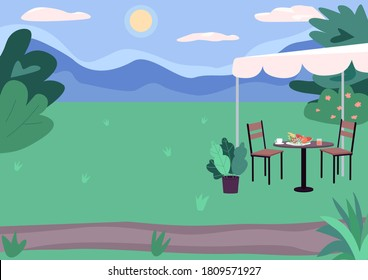 Outdoor picnic spot flat color vector illustration. Green landscape. Urban scenery. Sunny day outside. Parks and recreation areas 2D cartoon landscape with green nature on background