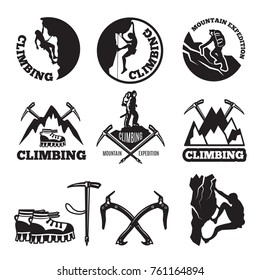 Outdoor pictures. Adventures and mountain climbing. Illustrations for labels or logo designs. Climbing extreme badge, logo climb expedition and tourism vector
