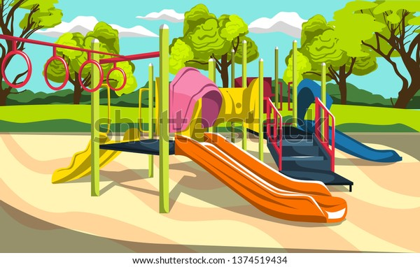 Outdoor Playground Fun Kids Park Slides Stock Vector ...
