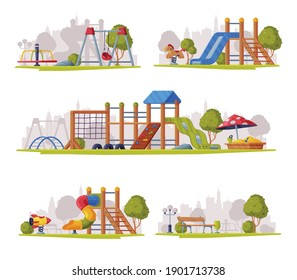Outdoor Playground as Urban Summer Public Area for Playing Vector Set