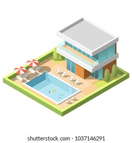 Outdoor Pool for swiming near hotel Isometric Vector illustration