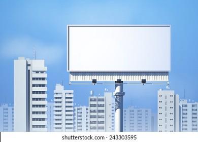 Outdoor realistic 3d billboard on city skyline background vector illustration