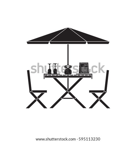 Outdoor Romantic Table Chairs Under Parasol Stock Vector Royalty