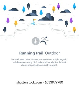 Outdoor running, trail map with flags, marathon path, countryside landscape, sport activity, vector icons, flat illustration