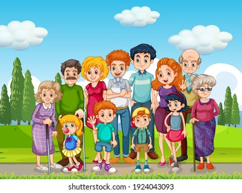 Outdoor scene with big family group illustration