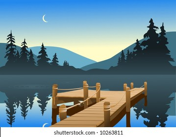 An outdoor scene of a fishing dock on a quiet lake. The moon can be seen just over the tree line.