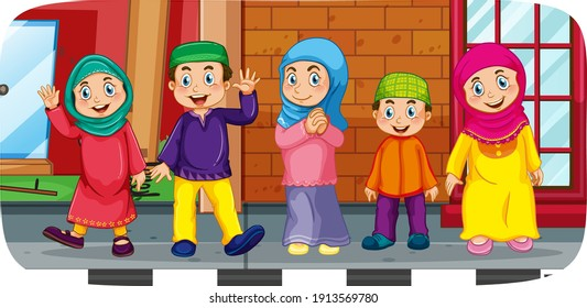 Outdoor scene with many muslim children cartoon character illustration