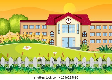 An outdoor scene with school illustration
