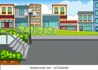 An outdoor scene with town illustration