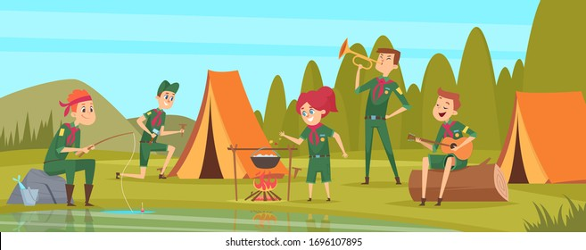 Outdoor scouts. Teacher studying little rangers survive in wild tree group of scouts in uniform sitting in camp events vector characters