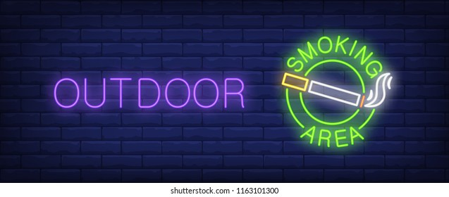 Outdoor, smoking area neon sign. Cigarette and smoke in circle on brick wall background. Vector illustration in neon style for public spaces