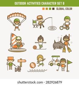 outdoor sport and activities character set