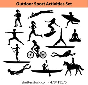 Outdoor Sport Activities. Female Silhouette. Woman swimming, trekking, running, cycling, doing yoga, hiking, scuba diving, kayaking, stand up paddling, surfing, snorkeling, horse riding