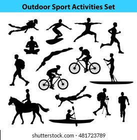 Outdoor  Sport Activities. Male Silhouette. Man Swimming, Trekking, Running, Cycling, Doing Yoga, Hiking, Diving, Kayaking, Stand up paddle boarding, Surfing, Scuba diving, Snorkeling, Horse Riding